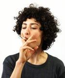 Young woman smokes Royalty Free Stock Photo