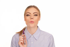 Young Woman Smokin Electic Cigarette Stock Images