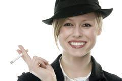 Young woman smoking Stock Image