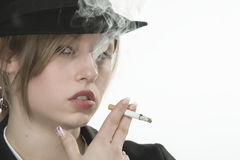 Young woman smoking Stock Photos