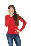 Young woman smoking cigarette. Royalty Free Stock Photography