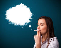Young woman smoking unhealthy cigarette Royalty Free Stock Photography