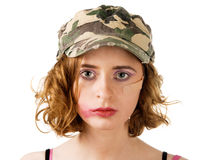 Young woman with smudged makeup Royalty Free Stock Photo