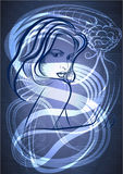 The young woman with a snake in blue. The young woman against contour of snake on dark blue background stock illustration