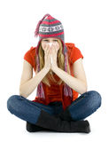 Young woman sneezing to a paper handkerchief Royalty Free Stock Photos