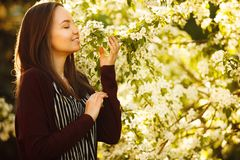 Young woman sniffs a blossoming tree. beautiful girl in spring park. Allergy to pollen Stock Photos