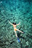 Woman snorkeling in tropical water stock images