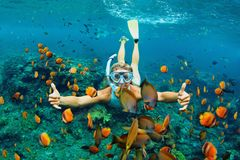 Young woman snorkeling with coral reef fishes. Happy family - girl in snorkeling mask dive underwater with tropical fishes in coral reef sea pool. Travel stock image
