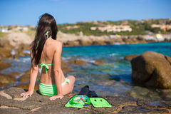 Young woman with snorkeling equipment on big Royalty Free Stock Photos