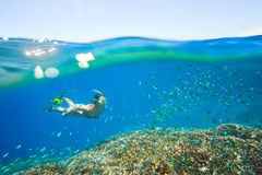 Young woman at snorkeling in the tropical turquoise water. Young woman at snorkeling in the tropical water. Traveling, active lifestyle concept stock photography