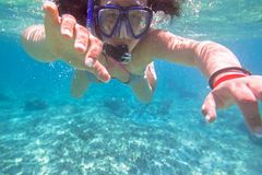 Young woman snorkeling in the tropical water. Of Mexico Royalty Free Stock Photos