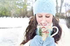 Young Woman in Snow Stock Photos