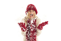 Young woman in the snow Royalty Free Stock Images