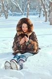 Young woman on snow Stock Photography