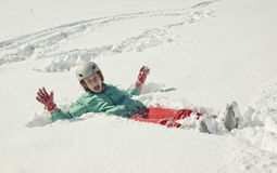 Young woman on  snow Stock Photos