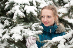 Young woman in snow-covered spruce forest Royalty Free Stock Photography