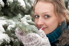 Young woman in snow-covered spruce forest Royalty Free Stock Image