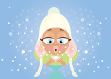 Young woman and snow Royalty Free Stock Photography