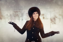 Young Woman in The Snow in Wintertime Royalty Free Stock Photography