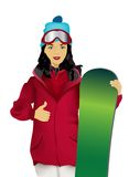 The young woman with a snowboard Stock Photography