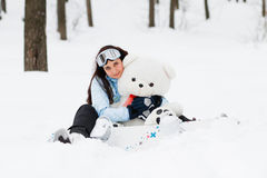 Young woman with  snowboard Royalty Free Stock Photos