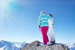 Young woman with snowboard Stock Photography
