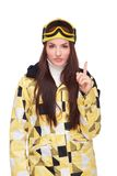 Young woman in snowboard clothes pointing finger Royalty Free Stock Photos