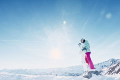 Young woman with snowboard Stock Photos