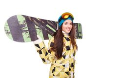 Young woman with snowboard on shoulders Stock Images