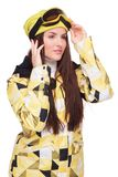 Young woman in snowboard winter clothes Stock Photo