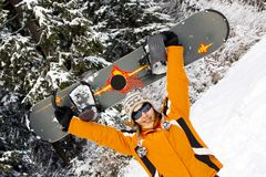 Young woman snowboarder Royalty Free Stock Photo