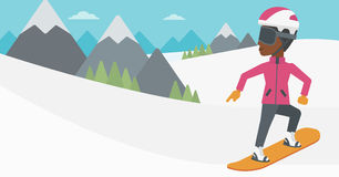 Young woman snowboarding vector illustration. Royalty Free Stock Image