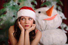 Young woman in snowgirl dress Royalty Free Stock Photos