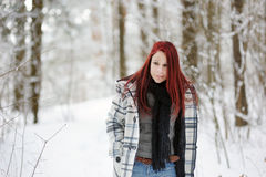 Young woman and snowy forest Stock Photography