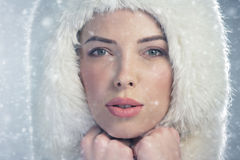 Young woman on a snowy winter day Royalty Free Stock Photography