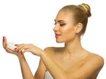Young woman with soap. Isolated Stock Image