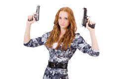 Young woman soldier with gun Stock Image