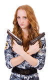 Young woman soldier with gun. On white Royalty Free Stock Photography