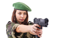 Young woman soldier with guns Royalty Free Stock Images