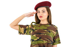Young woman soldier in military camouflage outfit Royalty Free Stock Photo