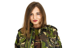 young woman soldier in military camouflage outfit stock photo