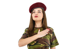 Young woman soldier in military camouflage outfit Stock Photography