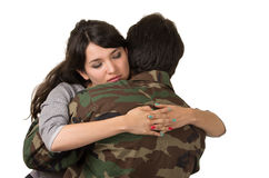 Young woman and soldier in military uniform say Royalty Free Stock Photo