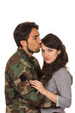 Young woman and soldier in military uniform  Stock Photo