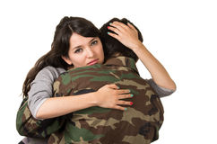 Young woman and soldier in military uniform  Royalty Free Stock Images