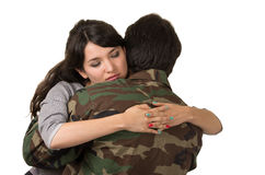 Young woman and soldier in military uniform Royalty Free Stock Photos
