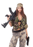 Young woman soldiers Royalty Free Stock Photography