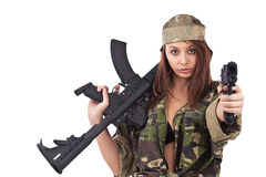 Young woman soldiers Royalty Free Stock Photos