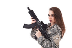Young woman soldiers with gun Stock Image
