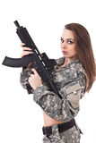 Young woman soldiers with gun Stock Images